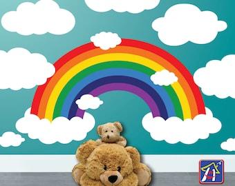 Rainbow Wall decal - Sale! - Rainbow Decal  - Nursery Rainbow and Clouds Decor, Bedroom Playroom decor - Toddler bedroom  Wall decal