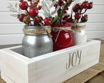 "Christmas Centerpiece, Rustic Christmas, Holiday decor, Rustic centerpiece, Wood box, 12"" JOY,"