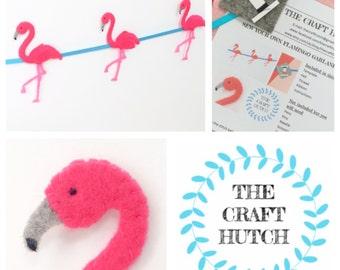 Flamingo Garland, Flamingo Decoration, Flamingo Kit, Sew Your Own Kit, Tropical party, Pink Flamingo, Make Your Own kit, Craft Kit
