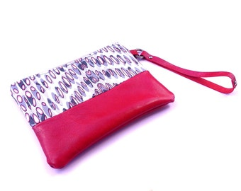 Hot Pink Leather Wristlet Zipper Pouch Makeup, Hot Pink Pouch, Leather Pouch Wristlet Pouch Cosmetic Bag Gift for Her Wristlet Purse