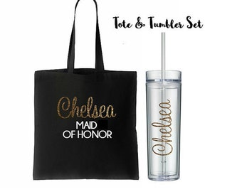 11 Totes and Tumblers Set, Bridesmaid Gift, Bridesmaid Tote Bags, Bridesmaids Totes and Tumbler Set, Bridal Party Gift, Wedding Bags