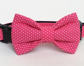 Pink Pin Dot Dog Collar Bow Tie set