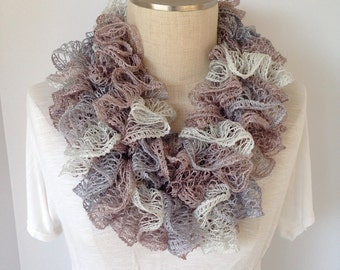 Crochet Ruffle Scarf - Crochet Scarf - Handmade Scarf - Brown and White - Infinity Scarf - Womens Cowl - Neckwarmer