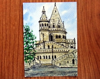 ACEO Original Watercolor and Ink-Fisherman's Bastion,Budapest/Hungary