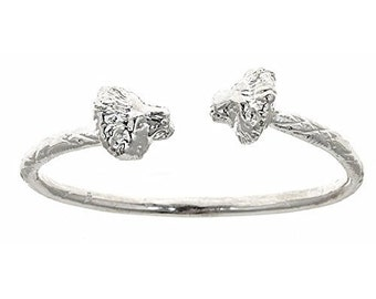 Thick Lion Ends .925 Sterling Silver West Indian Bangle