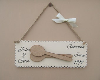Spooning Since Plaque. Personalised Anniversary Plaque, Wedding Gift. Quirky fun. Valentine's Day. Christmas present.