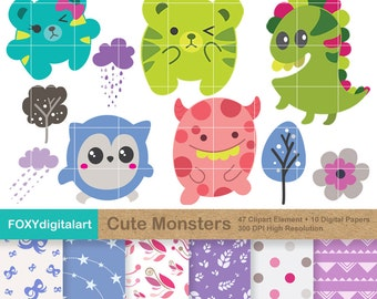 Cute Monster Clipart, Little Monster Clipart, Monster Clipart, Monster Graphics, Monster Party, Kawaii Clipart, Creature Graphics