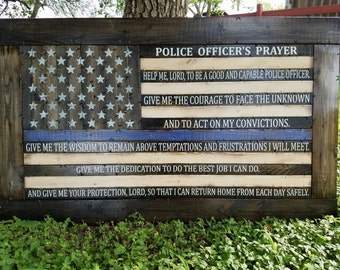 Police Officer's Prayer Thin Blue Line Flag
