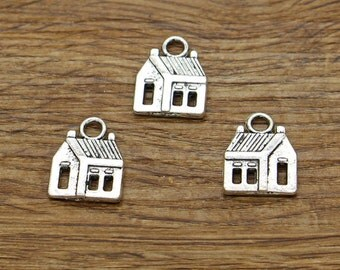20pcs House Charms Antique Silver Tone 2 Sided Home Charms 14x18mm 1946