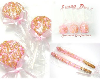 Fancy Pink and Gold Chocolate Dipped Favors (12) Glitz and Glamour Party Favors Oreo Pops, Dipped Pretzels, Dipped Marshmallow Pops