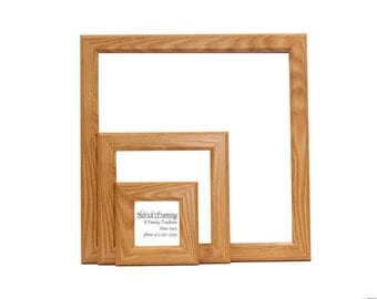 Custom Oak Square Picture Frames from 4x4 - 20x30 or Larger - Custom Sizes for  Art, Photography, Certificates, Wedding or any Media
