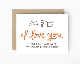 Funny Valentine Card - I Love You More Than Cats Love Ice Cream & Empty Boxes