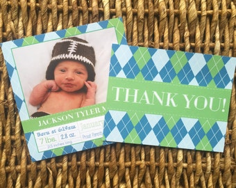 Baby Announcement Blue and Green Argyle ** Envelopes included. Add on Thank you cards option**