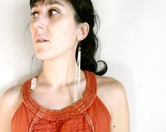 Vintage folk earrings  silver dangle translucide tribal