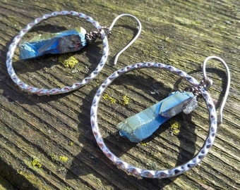 Big Silver Gypsy Boho Hoop Earrings With Wire Wrapped Rainbow Titanium Quartz Crystal Points & Handmade Hypoallergenic Titanium Ear Wires
