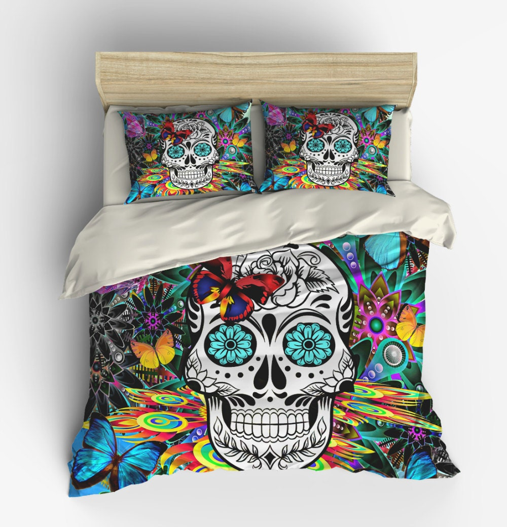 bed comforters with skulls in stock featherweight beige skull duvet cover by inkandrags. Black Bedroom Furniture Sets. Home Design Ideas