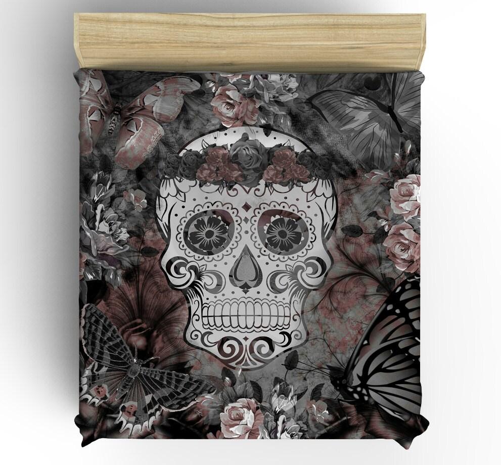 skull bedding day of the dead duvet comforter cover set