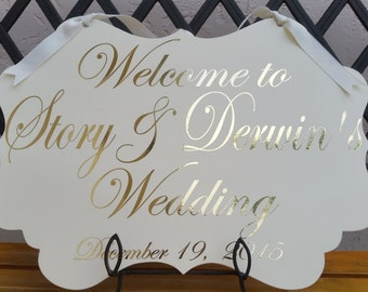 Gold Welcome Wedding Sign Decoration Rustic Chic Vintage