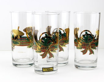 Vintage Culver Christmas Yule Horn Highball Glasses 22K Gold Set Of 4