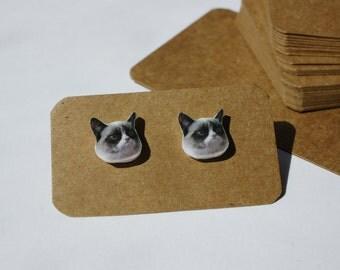 Grumpy cat stud earrings