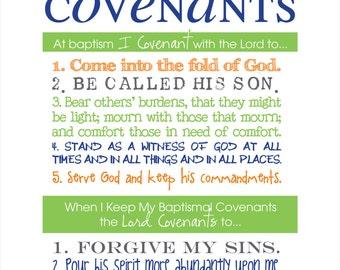 LDS Baptismal Covenants / Promise Printable Boy
