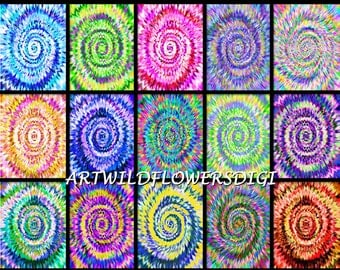 Tie Dye Papers - 8.5x11 inch TieDye Digital Papers - Psychedelic Tye-Dye Printable Paper Set - 1960's Mod TyeDye Paper - Commercial Use Ok