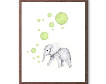 New Baby Art, Baby Elephant, Watercolor Wall Art, Elephant, Animal Wall Art, Art Print - E577W