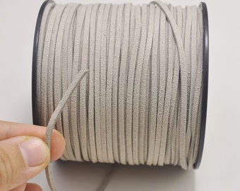 2.7mm Light Grey Faux Suede Leather Cord,100 yards(One Roll) Microfiber,Vegan Suede,DIY Cord Supplies,Flat Faux Suede Cord,Supplies --8#