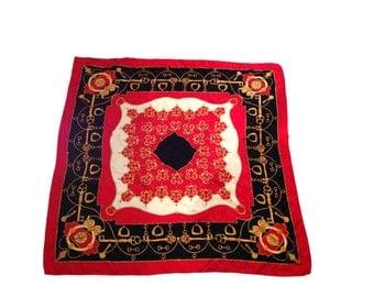 "Key & Horsebit Red, Black and Gold Silk Glamorous Scarf - Size 33.5"""