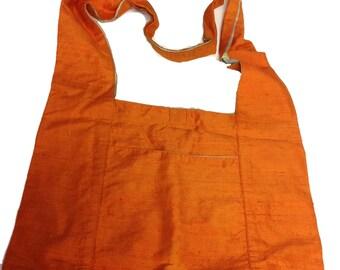 Raw Silk Burnt Orange Shoulder Boho Bag