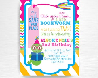 Pink Yellow Green Bookworm Birthday Party Printable Invitation YOU Print Girl Bookworm Party