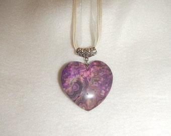 Heart-shaped Purple & Pink Crazy Lace Agate pendant (JO441)