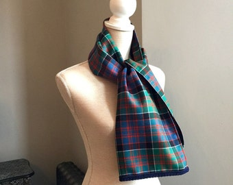 Scottish Wool Blue Green Red Tartan Plaid Scarf