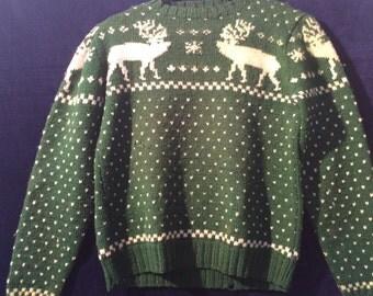 1930s handnit reindeer sweater