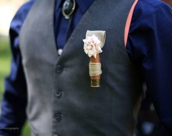 Champagne colored silk rose bud / rosebud / copper colored shotgun shell hull boutonniere / groomsmen / groom / vintage / rustic / western