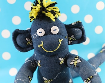 Sock Monkey / Bumble Bees / Blue Yellow Black White / Bee Decor / Gifts for Gardener / Bee Nursery / Bumble Bee Baby Shower / Unique Gift
