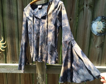 90s does 70s vintage RAVE GIRL TOP, tie dye with glitter & flared bell sleeves