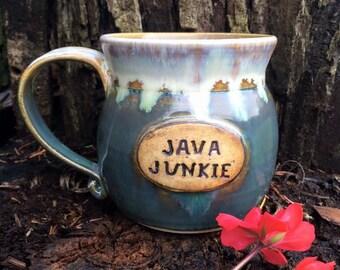 Green Phraseology Mug - Wheelthrown - Handmade Pottery
