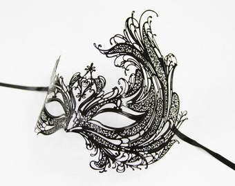 Black Phoenix Masquerade Mask/ Lasercut with White Rhinestones Venetian Masquerade Mask. BF003BK