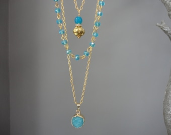 Aqua Druzy and Aqua Agate Triple Strand Gold Necklace/Blue and Gold/Extension Chain