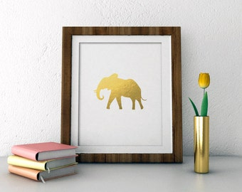 Elephant faux gold animal silhouette print  INSTANT DOWNLOAD