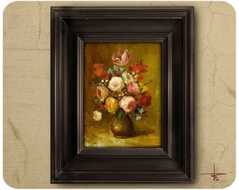ORIGINAL OIL Painting, Still Life, Flemish Floral, UNFRAMED, Painting by Bruno M Carlos, 16 cm x 22 cm (6,3 in x 8,6 in)