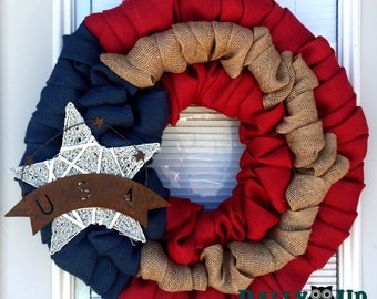 4th of July Burlap Wreath -  USA Wreath - Natural, red,  and  Blue Burlap Wreath, Patriotic,  Flag Wreath , Independence Day,  Door Wreath