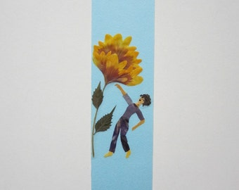 "Handmade unique bookmark ""Non-verbal communication"" - Pressed flowers bookmark - Unique gift - Paper bookmark - Original art collage."