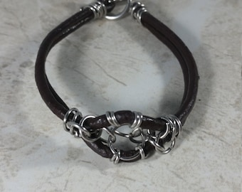 Chainmail leather bracelet, brown leather bracelet, Genuine leather bracelet