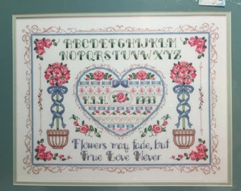Dimensions Counted Cross Stitch Kit True Love Wedding Sampler Vintage from the 1990's