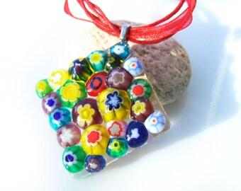 Multicolored Rainbow pendant Glass pendant Summer jewelry Fused glass Jewelry  Beach jewelry Murano glass Flowers
