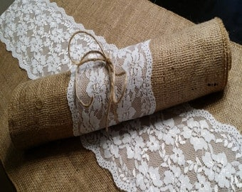 Burlap Table Runner with Lace, 14 inches wide Wedding, Party, Home Decor, Custom Size Available Rustic Shabby Chic Rustic Vintage