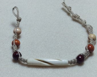Carved Bone and Wood Hemp Bracelet