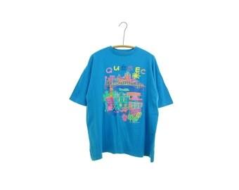 80s QUEBEC t shirt NEON tshirt aqua blue tee vintage Quebec t-shirt Canada tshirt souvenir shirt travel t shirt retro tshirt cityscape